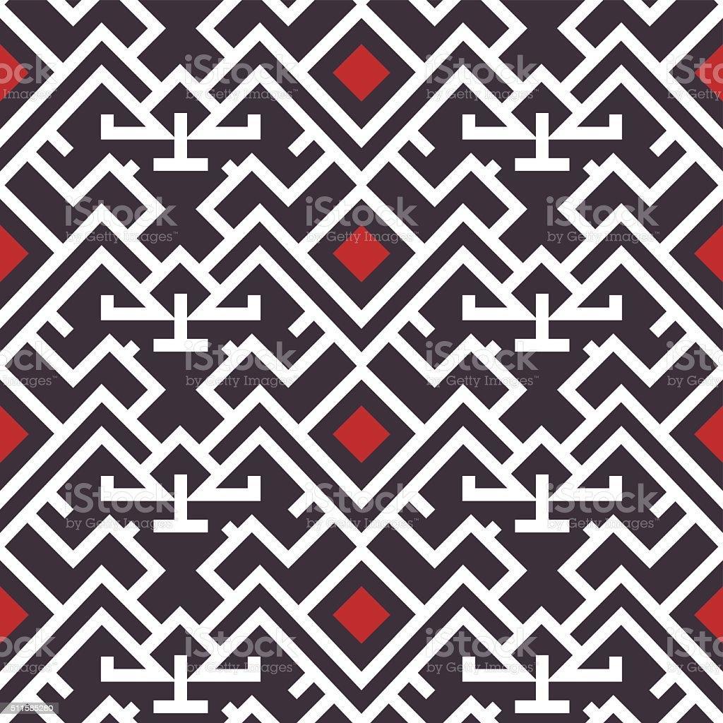 Geometric Tribal Seamless Pattern Red, Purple, White vector art illustration