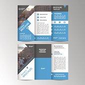 Geometric Trifold Business Brochure Leaflet Flyer or booklet template. Flat design set. Vector Illustration.