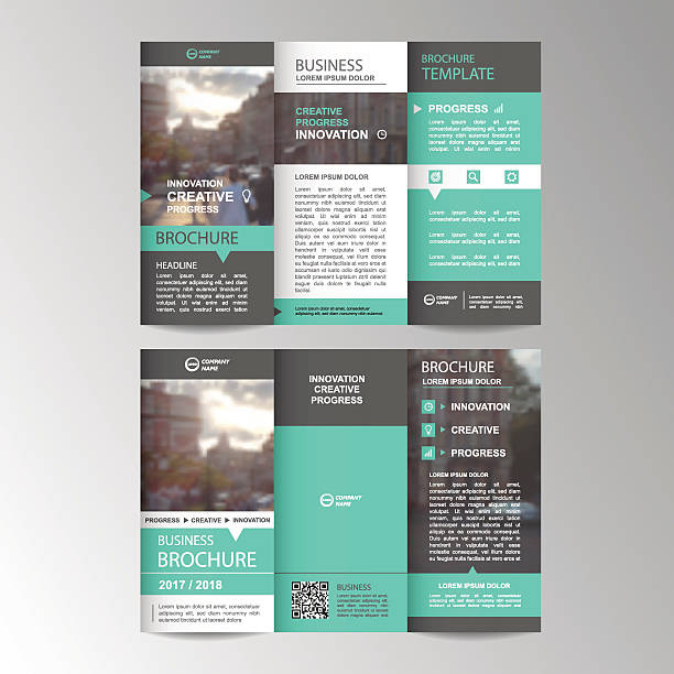 Geometric Trifold Business Brochure template vector art illustration
