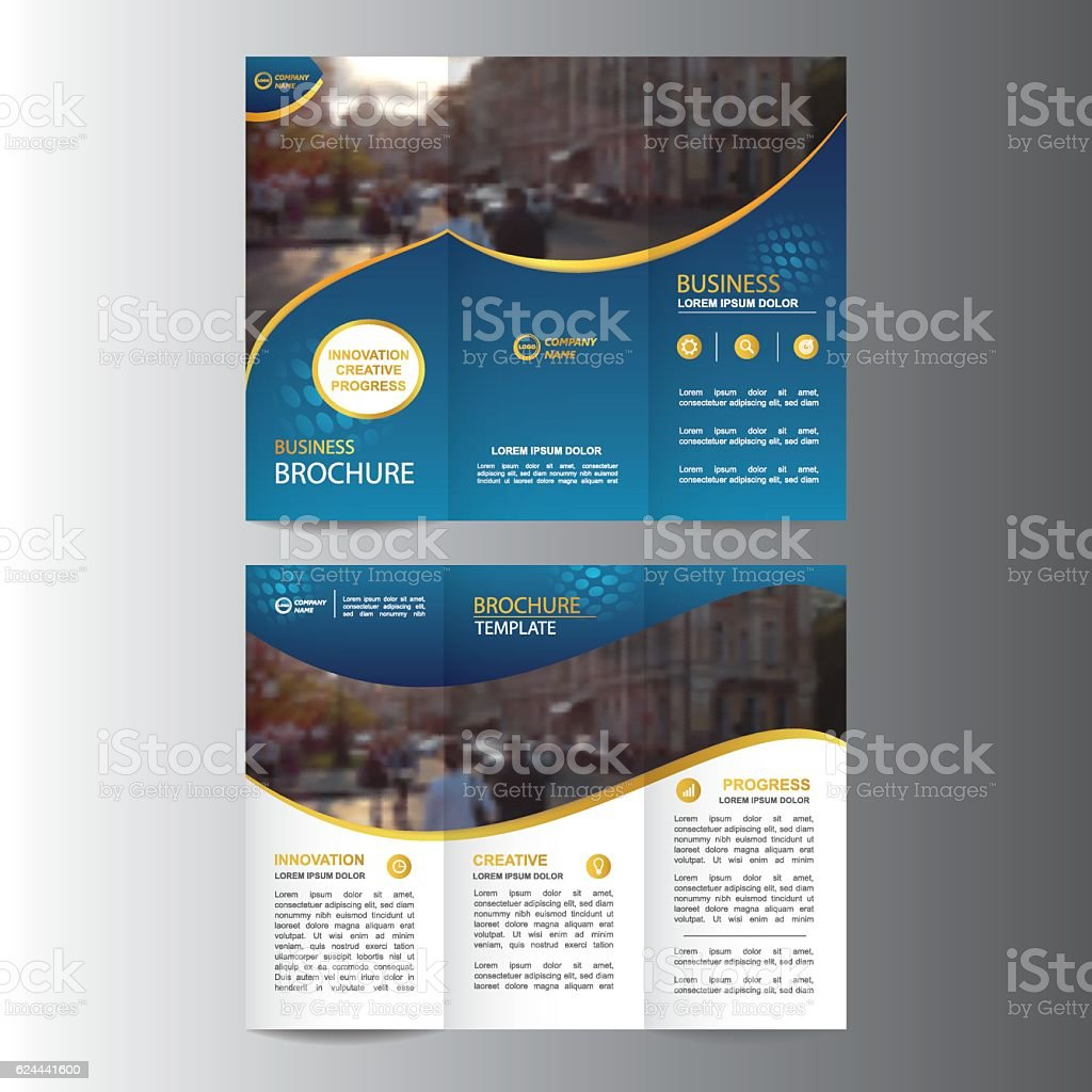 geometric trifold business brochure template アイデアのベクター