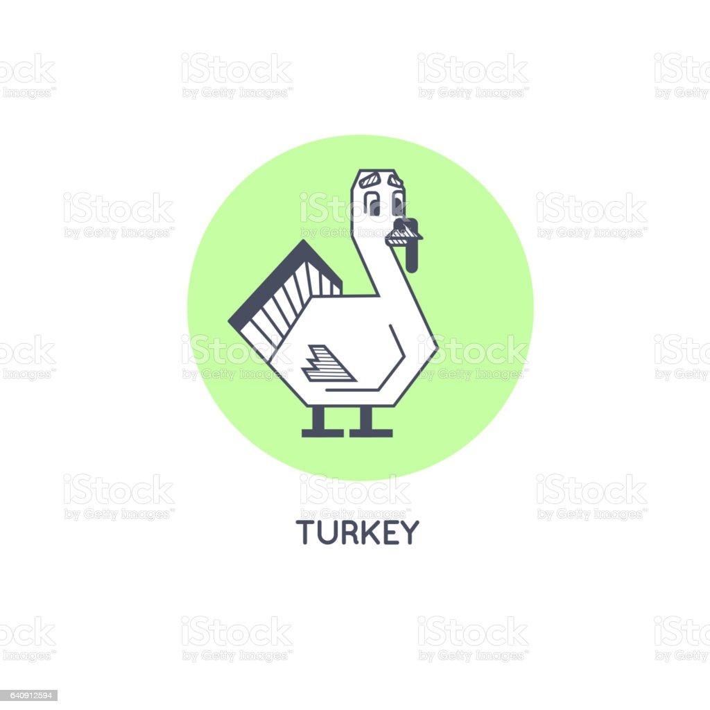 geometric turkey line art vector icon isolated stock vector art