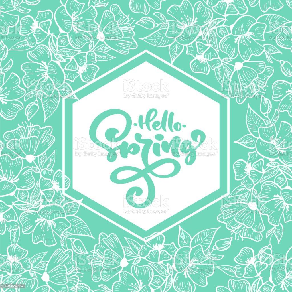 手書きのテキストと幾何学的なターコイズフレームハロースプリングフレーズの周りに花のスカンジナビアの要素花手描きの自然デザイン孤立したフラットイラスト いたずら書きのベクターアート素材や画像を多数ご用意 Istock