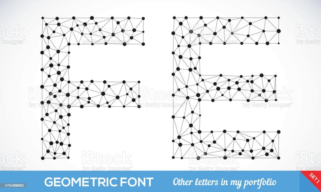 Geometric type font. vector art illustration