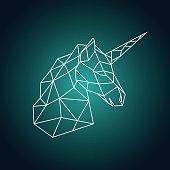 Geometric unicorn head. Side view. Vector illustration.