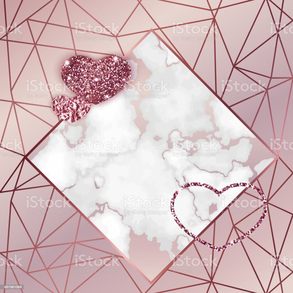 Geometric Valentine Day Card Marble Texture Background In Trendy