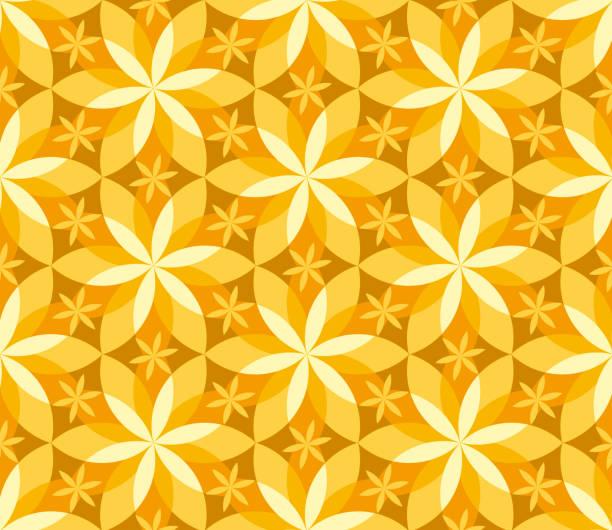 stockillustraties, clipart, cartoons en iconen met geometrische vanille naadloze bloemenpatroon. - vanille