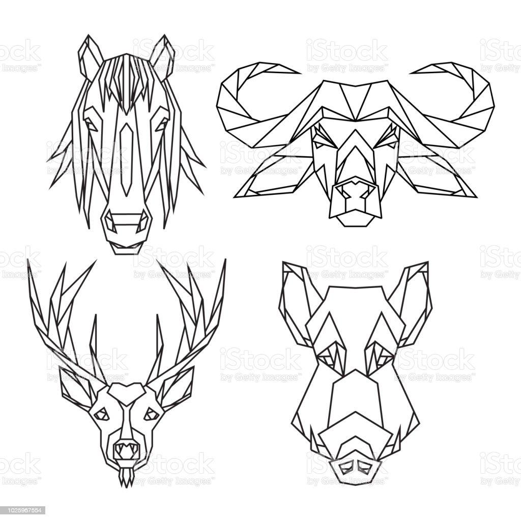 Animal De Vecteur Geometrique Definie De Bull Cerfs Des