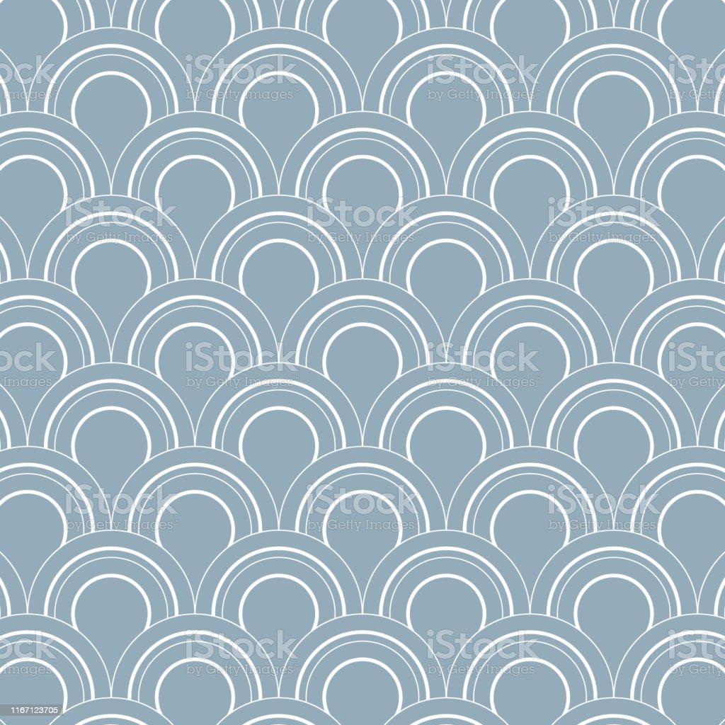 幾何学的ベクトルパターン繰り返し円または抽象的な水滴魚のスケールと