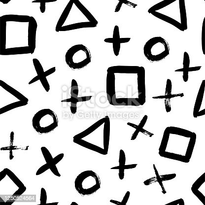 istock Geometric vector seamless pattern in Memphis style. Grunge brush stroke triangles, circles, crosses and squares. 1250524564
