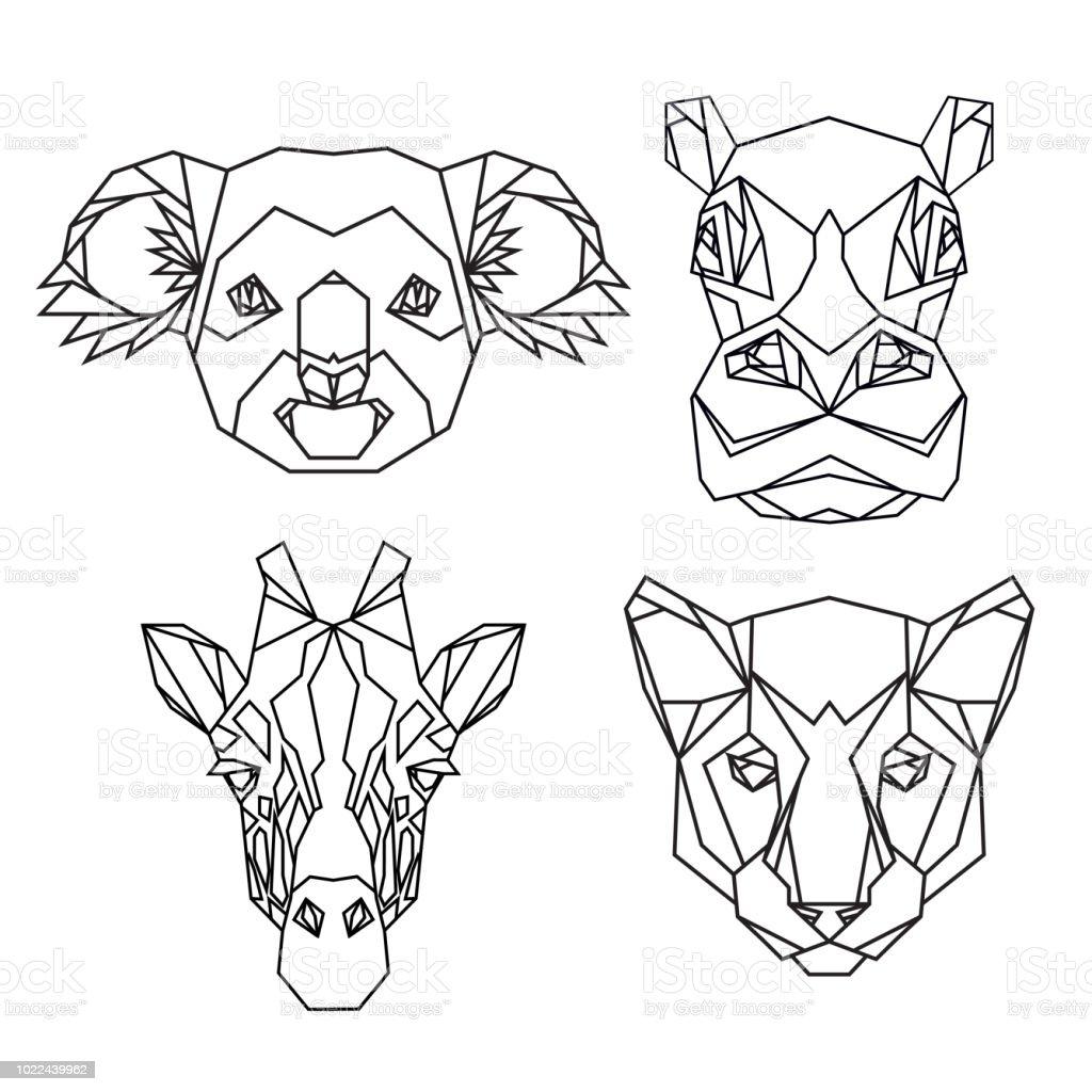 geometric vector set of koala hippo puma giraffe vector