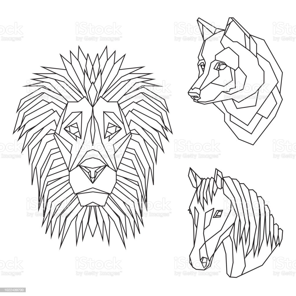 7f24fd1f7 Geometric vector set with animal heads of lion, wolf and horse, drawn in  line or triangle style, suitable for modern tattoo templates, icons or logo  ...