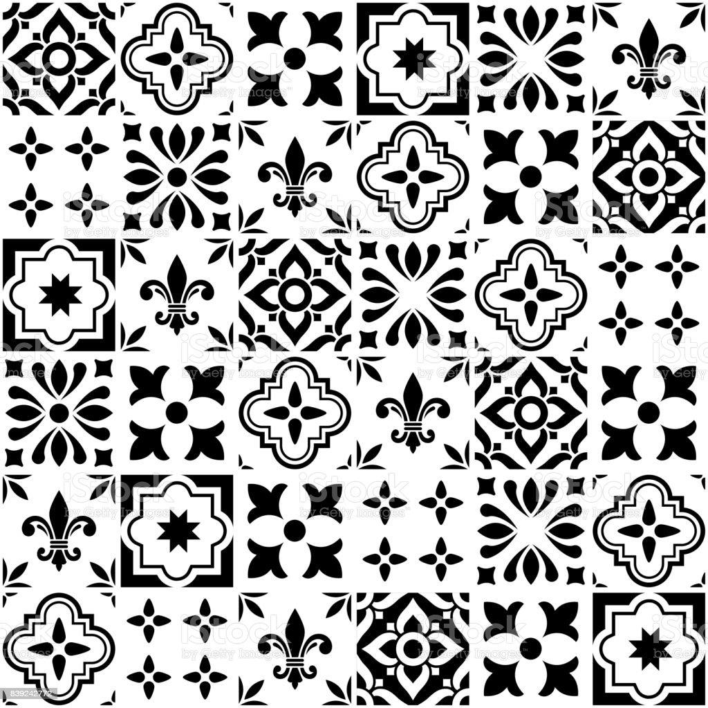 Geometrischen Vektor Fliesen Design, Portugiesisch oder Spnish nahtlose schwarze und weiße Fliesen, Azulejos-Muster – Vektorgrafik