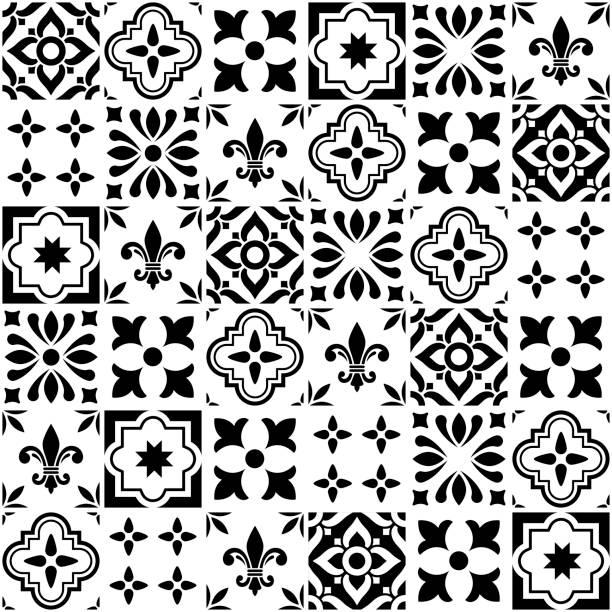 geometrischen vektor fliesen design, portugiesisch oder spnish nahtlose schwarze und weiße fliesen, azulejos-muster - mosaikglas stock-grafiken, -clipart, -cartoons und -symbole