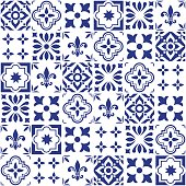 Geometric vector tile design, Portuguese or Spnish seamless navy blue tiles, Azulejos pattern