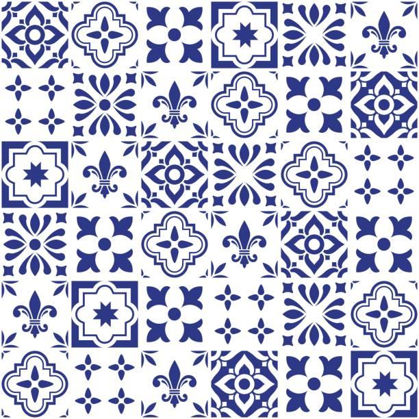 geometryczny projekt płytek wektorowych, portugalski lub spnish bezszwowe granatowe płytki, wzór azulejos - kultura portugalska stock illustrations