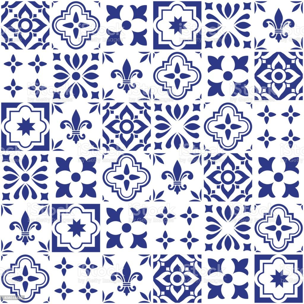Geometric vector tile design, Portuguese or Spnish seamless navy blue tiles, Azulejos pattern vector art illustration