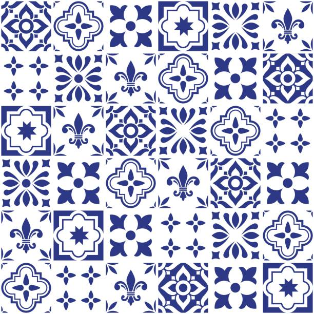 geometric vector tile design, portuguese or spnish seamless navy blue tiles, azulejos pattern - lizbona stock illustrations