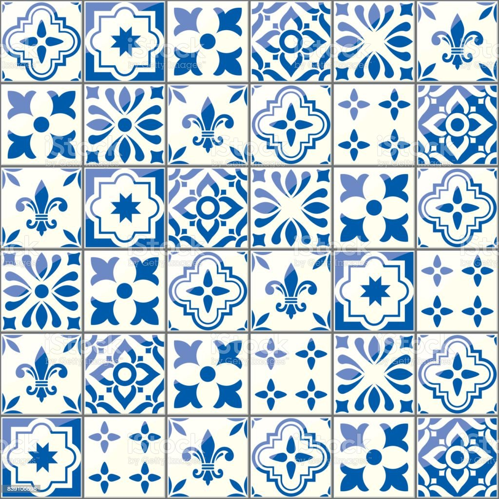 Geometric Vector Tiles Pattern Portuguese Or Spnish Seamless Blue ...