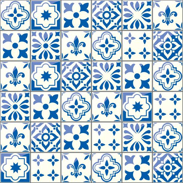 geometric vector tiles pattern, portuguese or spnish seamless blue tile design, azulejos background - lizbona stock illustrations