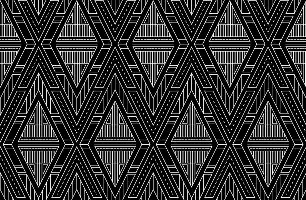 Geometric vector triangles seamless pattern. Art deco black and white ornament. Pattern for textile, fabric, wrapping paper and your design. vector art illustration