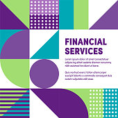 Vibrant financial services graphic design makes typography stand out. Eye-catching ad template to boost brochures, reports, posters, presentations, banners or web pages.