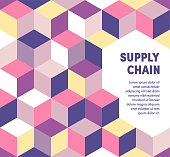 Vibrant supply chain graphic design makes typography stand out. Eye-catching ad template to boost brochures, reports, posters, presentations, banners or web pages.