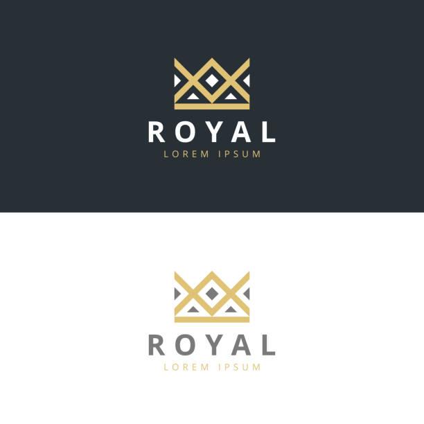 illustrations, cliparts, dessins animés et icônes de géométrique modèle de vecteur de conception abstraite icône de vintage couronne créatif. - couronne reine