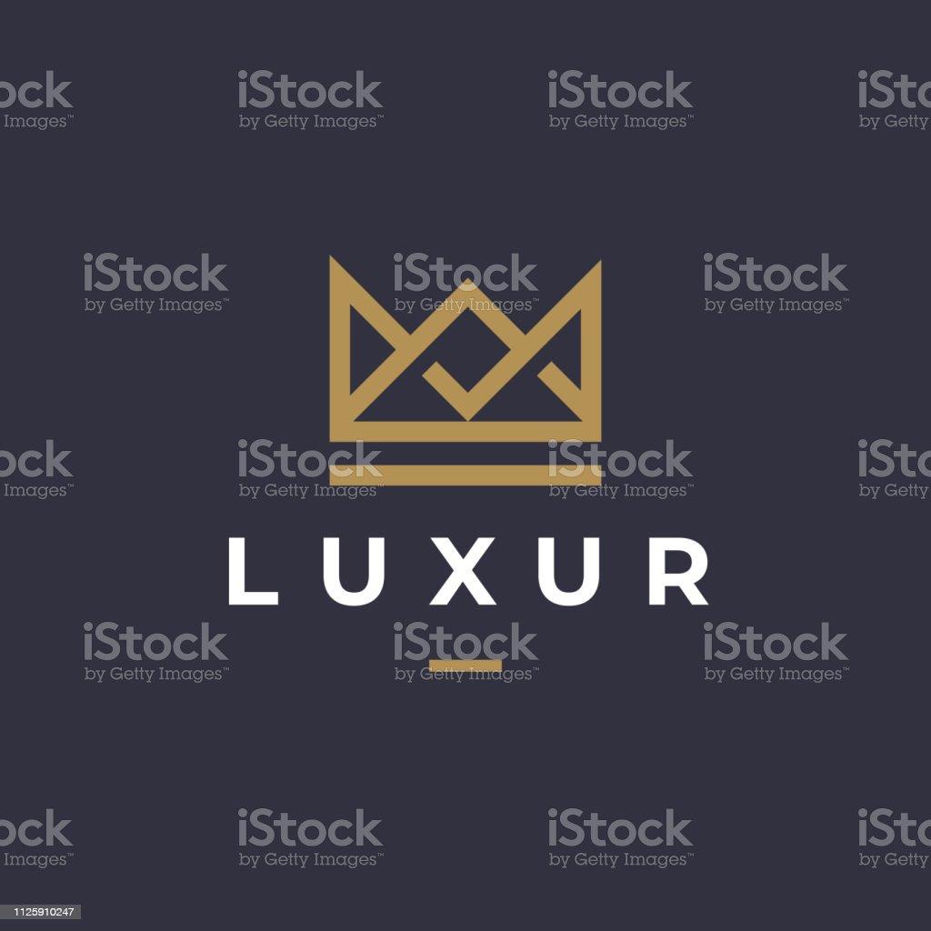 Géométrique Vintage Crown Creative abstraite Logotype vectoriel modèle de conception. Vintage couronne royale roi reine concept symbole Logotype concept icône. - clipart vectoriel de Abstrait libre de droits