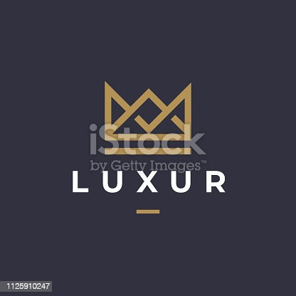 Geometric Vintage Creative Crown abstract Logotype design vector template. Vintage Crown Royal King Queen concept symbol Logotype concept icon.