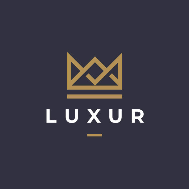 Geometric Vintage Creative Crown abstract Logotype design vector template. Vintage Crown Royal King Queen concept symbol Logotype concept icon. Geometric Vintage Creative Crown abstract Logotype design vector template. Vintage Crown Royal King Queen concept symbol Logotype concept icon. crown headwear stock illustrations