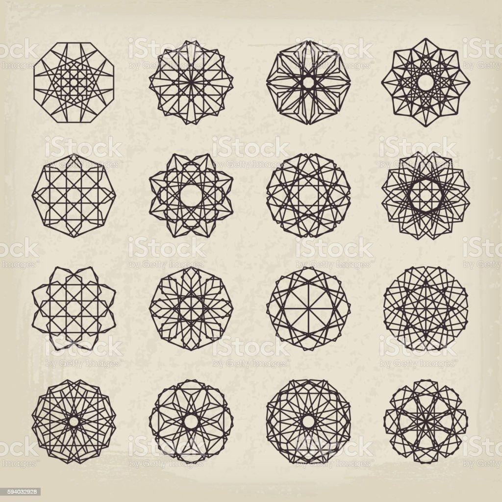 Geometric Vintage Ornaments Set vector art illustration