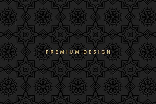 Geometric volumetric convex ethnic 3D pattern, cover design. Embossed vintage black background, ornament in the technique of doodling, arabesque.