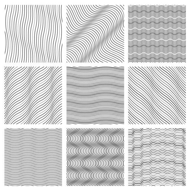 Geometric wavy pattern set Geometric wavy pattern set. Curved lines streep vector simple wave backgrounds. Monochrome decoration wavy background. Vector illustration squiggle stock illustrations