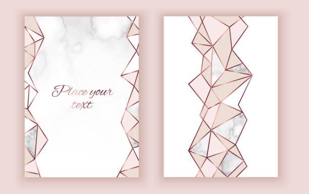 Geometrische Hochzeitseinladung, Marmor Textur, Hintergrund im trendigen minimalistischen Stil, Taube Silhouette, Granit, gold rose Glitzer, Rahmen, Vektor Mode Tapete, Poster, Abdeckung – Vektorgrafik