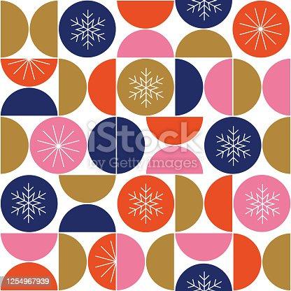 istock Geometric Winter Elements Seamless Pattern background. 1254967939