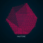 Geometric wireframe object from points. Abstract mesh emblem in red colors.