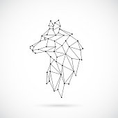 Geometric Wolf silhouette. Image of Wolf in the form of constellation. Vector illustration.