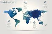 Geometric world map infographic