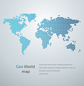 Modern blue geo world map.