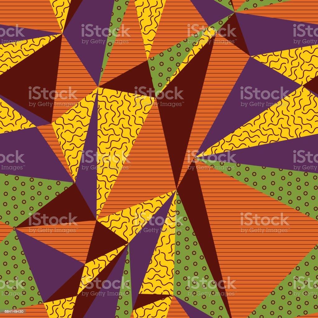 Geometric_Triangle_Random_pattern_with squiggle_Brown ilustración de geometrictrianglerandompatternwith squigglebrown y más banco de imágenes de abstracto libre de derechos