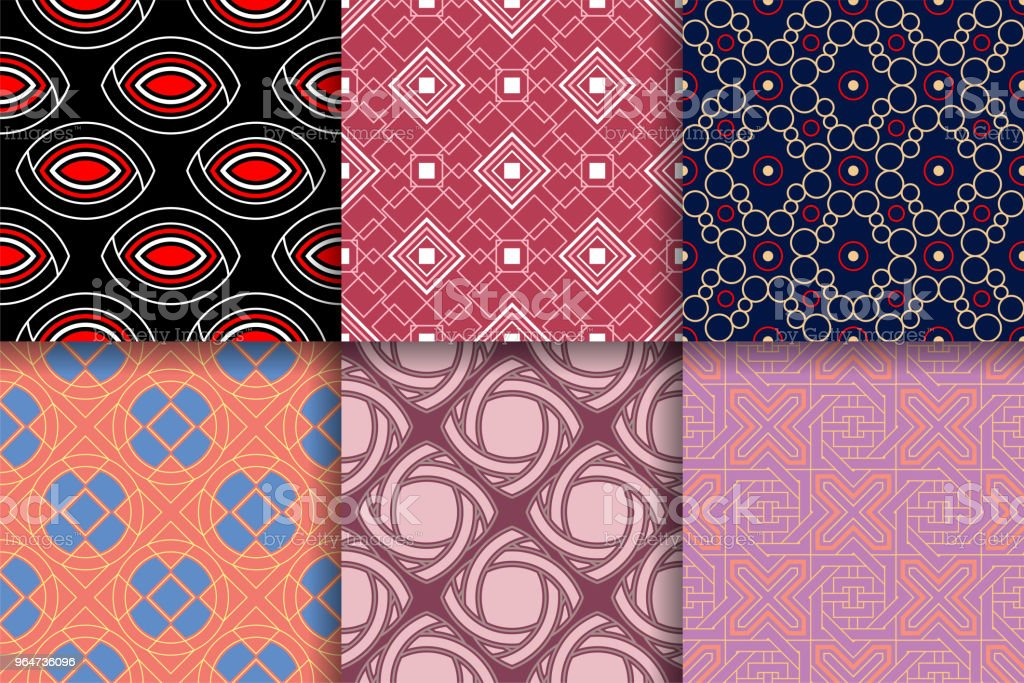 Geometrical backgrounds. Collection of colored seamless textures royalty-free geometrical backgrounds collection of colored seamless textures stock vector art & more images of abstract