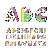 Geometrical color outline latin font, graphical decorative type