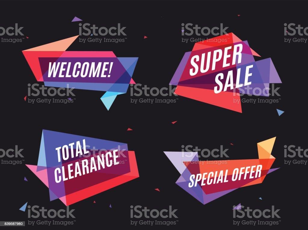 Bannière coloré géométrique, bulle de dialogue marketing et soc bannière coloré géométrique bulle de dialogue marketing et soc vecteurs libres de droits et plus d'images vectorielles de affaires libre de droits