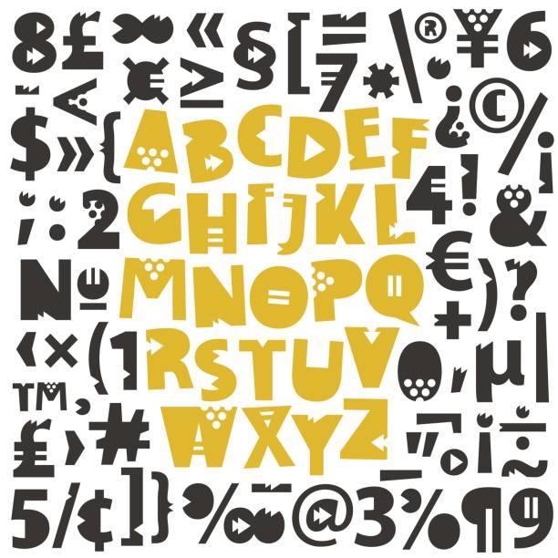 ilustraciones, imágenes clip art, dibujos animados e iconos de stock de números, pictogramas y letras geométricas - tipos de letra y tipografía
