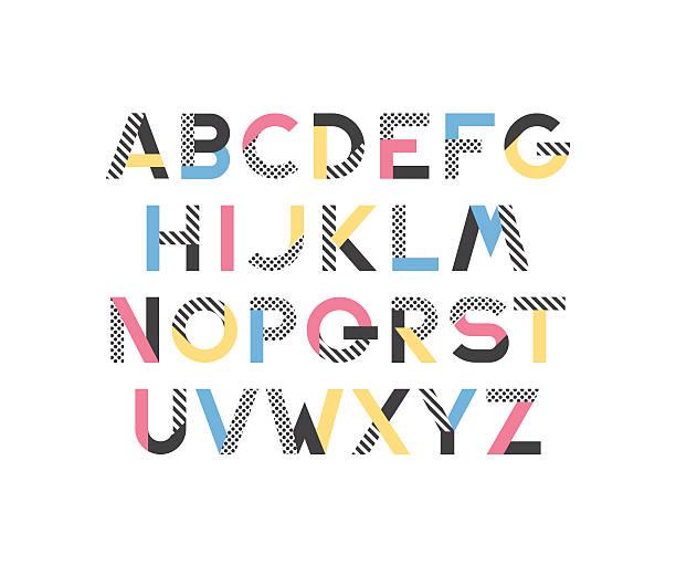 stockillustraties, clipart, cartoons en iconen met geometrical pattern and color blocks' latin font - blok vorm
