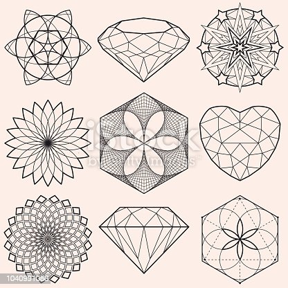 Vector illustration with a beautiful collection of Geometrical Mandalas Stars and Gems