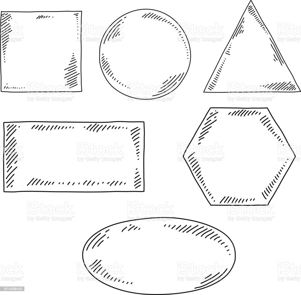 Geometrical Shapes Drawing vector art illustration
