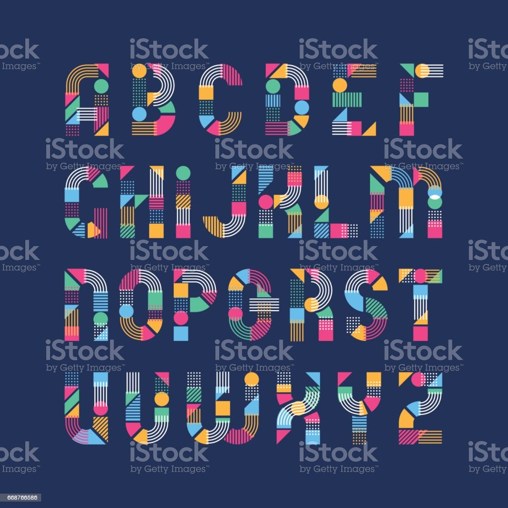 Geometrical shapes', lines and color blocks' latin font vector art illustration