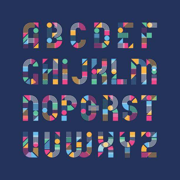 geometrical shapes', lines and color blocks' latin font - alphabet patterns stock illustrations