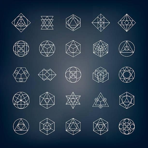 Geometrical Shapes - Sacred Geometry Geometrical shapes. Can be used as sacred geometry sybols or alchemy and spirituality elements. alchemy stock illustrations